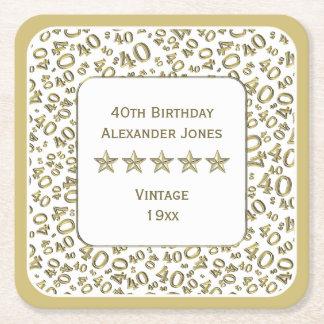 40. Geburtstags-Party-Gold/weißes Muster Rechteckiger Pappuntersetzer
