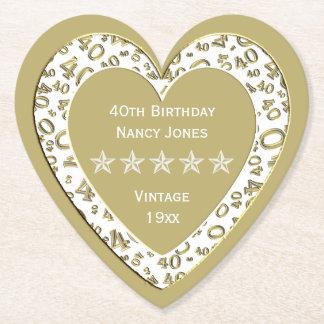 40. Geburtstags-Party Gold/WhiteTheme Untersetzer