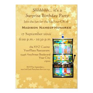 40. Geburtstags-Party-Goldkasino-Schlitz-Maschine 14 X 19,5 Cm Einladungskarte