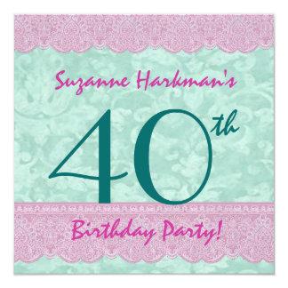 40. Geburtstags-Party-hübsche Spitze-Schablone Quadratische 13,3 Cm Einladungskarte