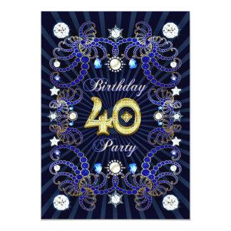 40. Geburtstags-Party laden mit Massen der Juwelen 12,7 X 17,8 Cm Einladungskarte