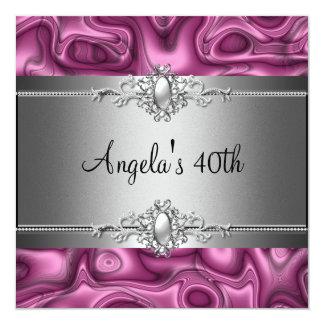 40. Geburtstags-Party-Rosa-Silber abstrakt Karte