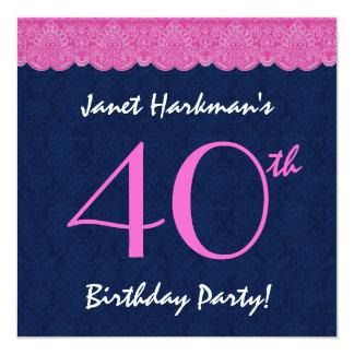 40. Geburtstags-Party-Rosa-Spitze und Damast Quadratische 13,3 Cm Einladungskarte