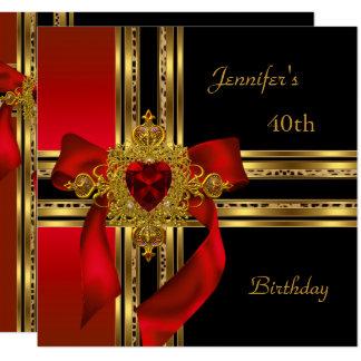 40. Geburtstags-Party-rotes Goldherz-Juwel 3 Karte