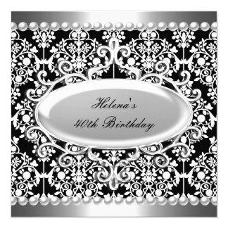 40. Geburtstags-Party-Schwarz-weißer Damast mit Karte