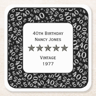 40. Geburtstags-Party-weißes/schwarzes Thema Rechteckiger Pappuntersetzer