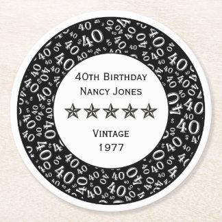 40. Geburtstags-Party-weißes/schwarzes Thema Runder Pappuntersetzer