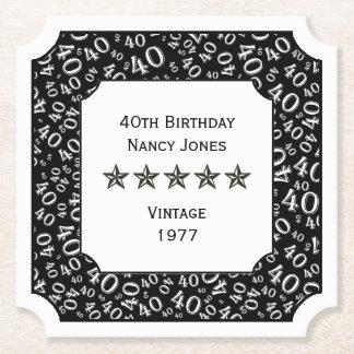 40. Geburtstags-Party-weißes/schwarzes Thema Untersetzer