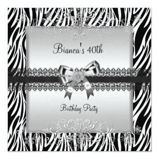 40. Geburtstags-Partyeleganter Zebra Schwarz-weiß Quadratische 13,3 Cm Einladungskarte