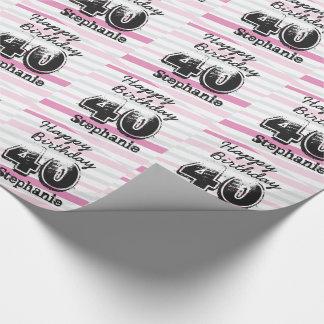 40. Geburtstags-rosa gestreifte addieren Geschenkpapier