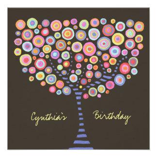 40. Geburtstags-Schokoladen-Retro Baum-Einladung