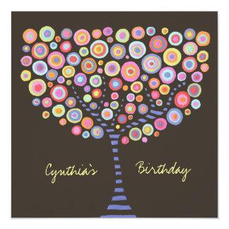 40. Geburtstags-Schokoladen-Retro Baum-Einladung Quadratische 13,3 Cm Einladungskarte