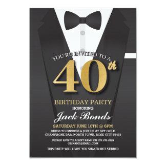 40. Geburtstags-Spions-Anzugs-Schwarz-Krawatte Karte