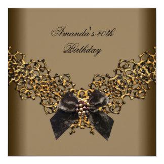 40. Geburtstags-Spitze-Kaffee-Brown-Goldwildes Quadratische 13,3 Cm Einladungskarte