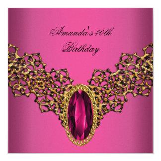 40. Geburtstags-Spitze-Rosa-Goldwildes Juwel Quadratische 13,3 Cm Einladungskarte