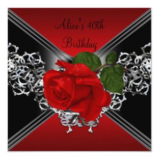 40. Geburtstags-Spitze-Schwarz-weiße silberne Rote Quadratische 13,3 Cm Einladungskarte