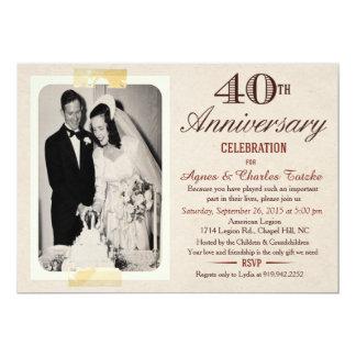 40. Hochzeits-Jahrestags-Einladung - Karte