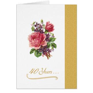40. Hochzeits-Jahrestags-romantische rosa Rosen Karte