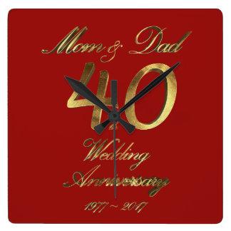 40. Hochzeitstag-karminrote Hochzeits-Eltern Wanduhr