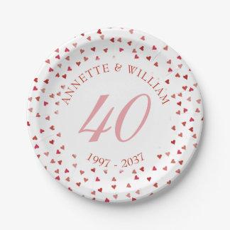 40. Hochzeitstag-karminroter HerzenConfetti Pappteller