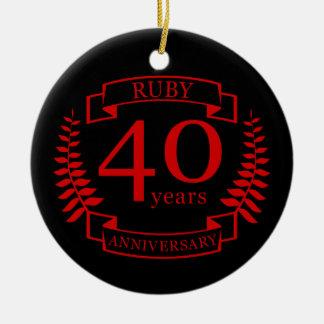 40. Hochzeitstag RUBIN Rundes Keramik Ornament