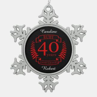 40. Hochzeitstag RUBIN Schneeflocken Zinn-Ornament