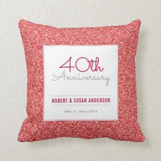 40. Jahrestags-Imitat-rotes Glitter-Andenken Kissen