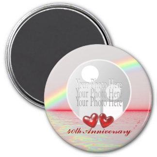40. Jahrestags-karminrote Herzen (Fotorahmen) Runder Magnet 7,6 Cm