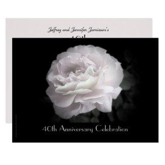 40. Jahrestags-Party Einladung blaß - rosa Rose