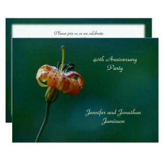40. Jahrestags-Party Einladungs-Gelb-Lilie Karte