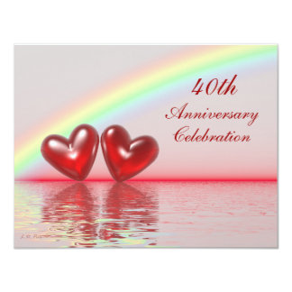 40. Jahrestags-Rubin-Herzen 10,8 X 14 Cm Einladungskarte
