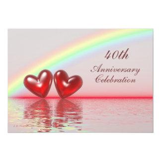 40. Jahrestags-Rubin-Herzen 12,7 X 17,8 Cm Einladungskarte