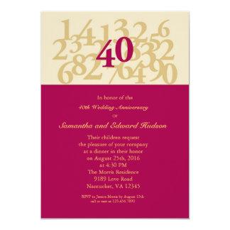 40. Karminrote Hochzeitstag-Einladung 12,7 X 17,8 Cm Einladungskarte