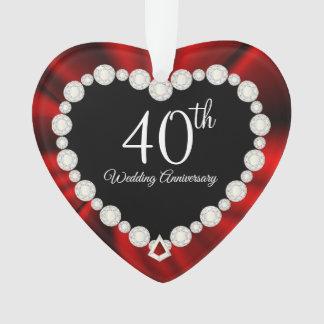 40. Karminroter Hochzeitstag-Andenken-Entwurf Ornament