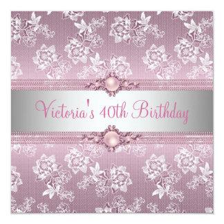 40. Rosa weiße silberne Quadratische 13,3 Cm Einladungskarte
