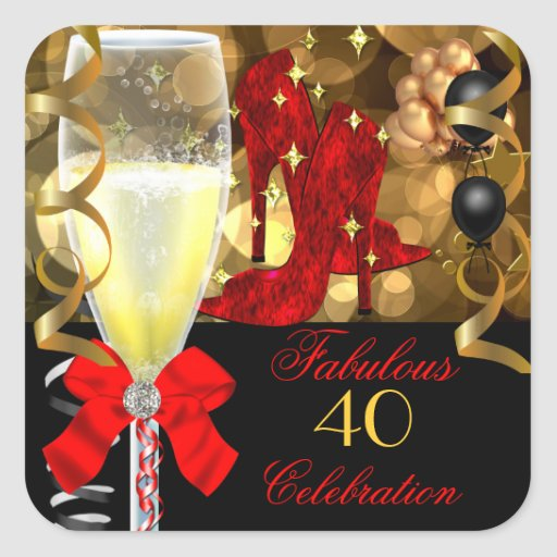 40 u. fabelhafte rote schwarze Goldgeburtstags-Sch Quadrataufkleber
