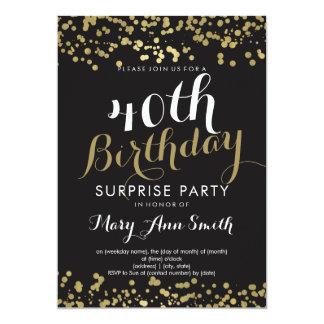 40. Überraschungs-Geburtstags-GoldfolieConfetti 12,7 X 17,8 Cm Einladungskarte