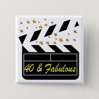 40 UND FABELHAFTE FILM-KÖNIGIN QUADRATISCHER BUTTON 5,1 CM
