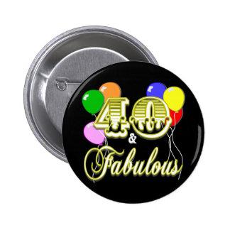 40 und fabelhafte Geburtstags-Geschenke und Kleid Anstecknadelbuttons