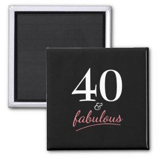 40 und fabelhafter Geburtstags-Magnet Quadratischer Magnet