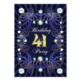 41. Geburtstags-Party laden mit Massen der Juwelen 12,7 X 17,8 Cm Einladungskarte