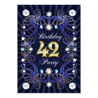 42. Geburtstags-Party laden mit Massen der Juwelen 12,7 X 17,8 Cm Einladungskarte