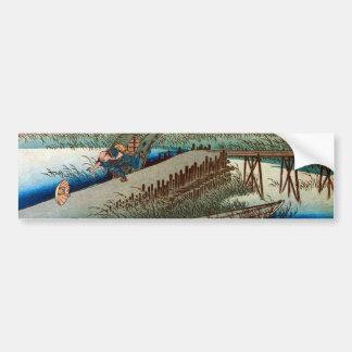 44. 四日市宿, 広重 Yokkaichi-juku, Hiroshige, Ukiyo-e Autoaufkleber
