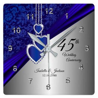 45./65. Saphir-Hochzeitstag-Andenken Quadratische Wanduhr