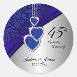 45./65. Saphir-Hochzeitstag-Entwurf Runder Aufkleber
