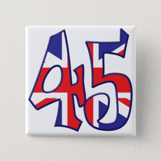 45 Alter Großbritannien Quadratischer Button 5,1 Cm