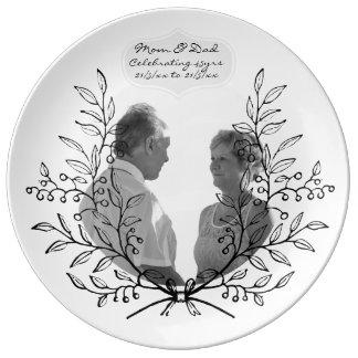 45. Hochzeits-Jahrestag FOTO Schwarz-weißer Wreath Teller