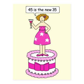 45 ist der neue Geburtstags-Humor mit 35 Altern Postkarte