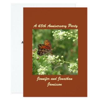 45. Jahrestags-Party Einladungs-Schmetterling Karte