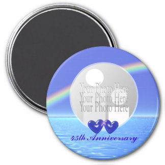 45. Jahrestags-Saphir-Herzen (Fotorahmen) Runder Magnet 7,6 Cm
